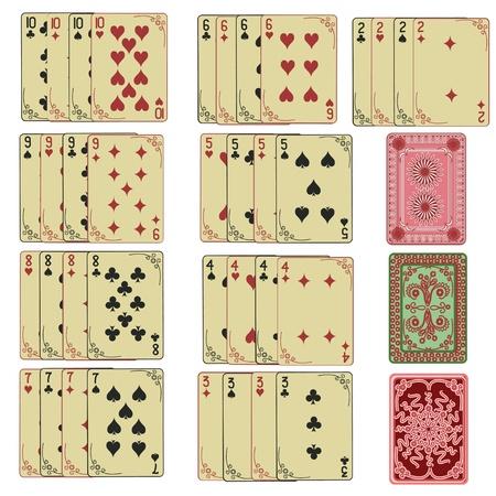 cartas de poker: Juego de cartas de juego retro con la parte posterior de dos a diez