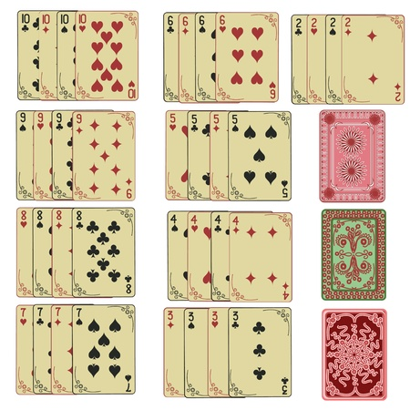 poker cards: Set of retro playing cards with back from two to ten