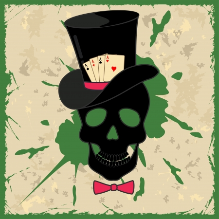 에이스: 두개골과 카드 놀이와 복고풍 배경