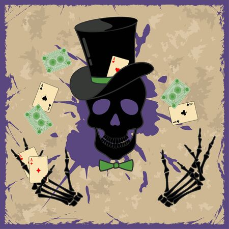 Retro background with skull and playing cards Vector