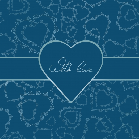 Card or invitation of lacy hearts and text with love for any holiday  Vector
