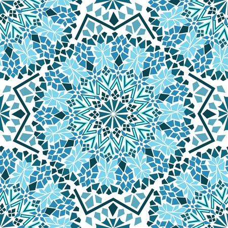 Seamless pattern of turquoise Moroccan mosaic