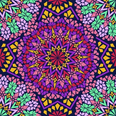 marrakesh: Seamless pattern di mosaico colorato marocchino Vettoriali