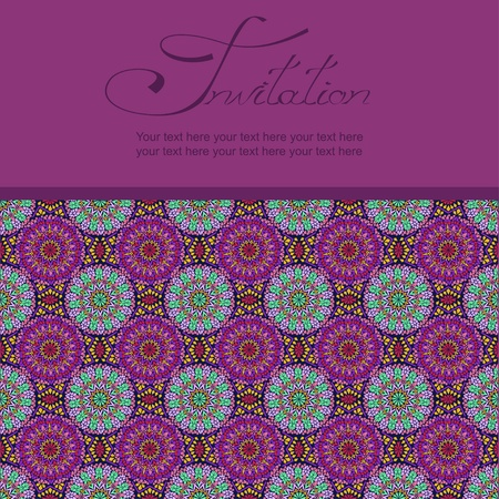 detail invitation: Invitation or card with Moroccan mosaic pattern Illustration
