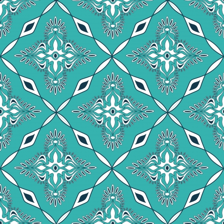 Seamless pattern of turquoise Moroccan mosaic Vector