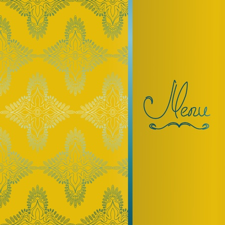 Background with antique pattern. Menu for restaurant or invitation Vector