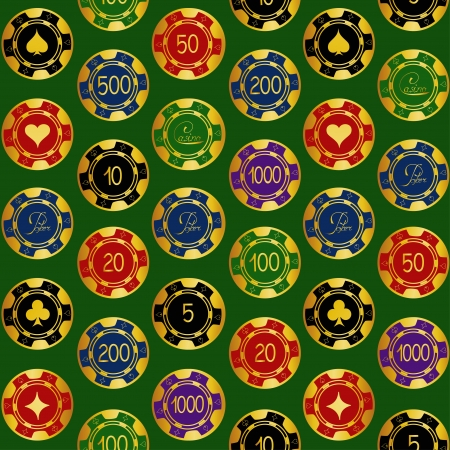 Seamless pattern of gold casino chips on a green background Vector