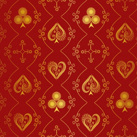 Antique suits of playing cards seamless pattern Vector