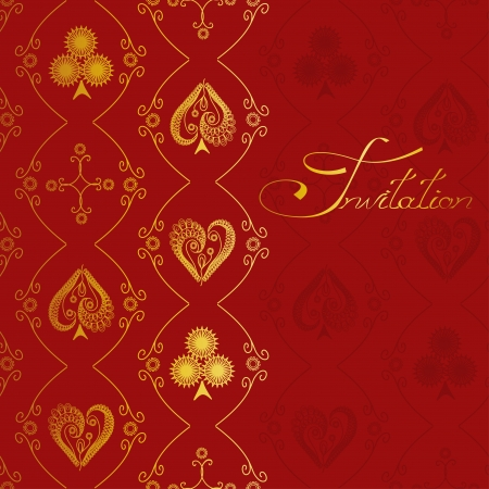 card suits: Invitation with antique pattern of suits of playing card