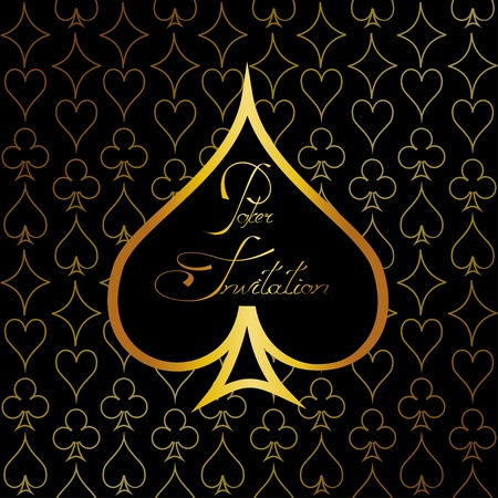 Gold casino background or invitation for poker with suits of playing cards Vector