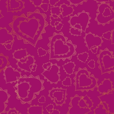 crimson: Seamless pattern of gold lacy hearts on a crimson background