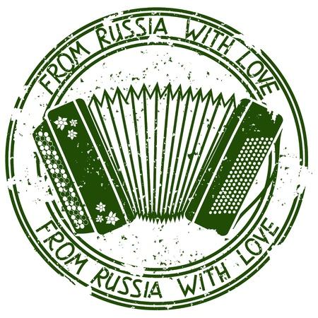 Sello de la vendimia con el acordeón ruso