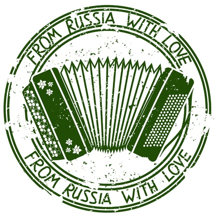 accordion: Vintage stamp with Russian accordion