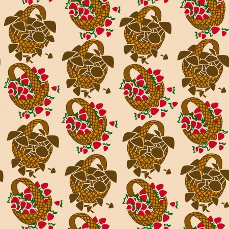 woody: Seamless pattern of wicker baskets with mushrooms and berries