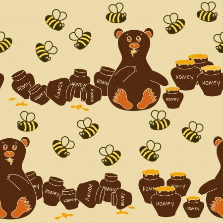 Seamless pattern of humorous cartoon bear eating honey and bees Vector