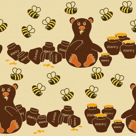 woody: Seamless pattern of humorous cartoon bear eating honey and bees