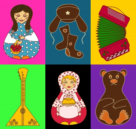 folk tales: Set of stylized russian icons on a bright colorful background
