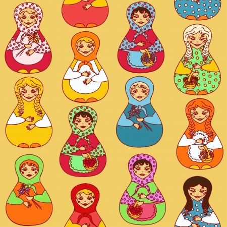 Seamless pattern of colorful Russian dolls matrioshka Vector