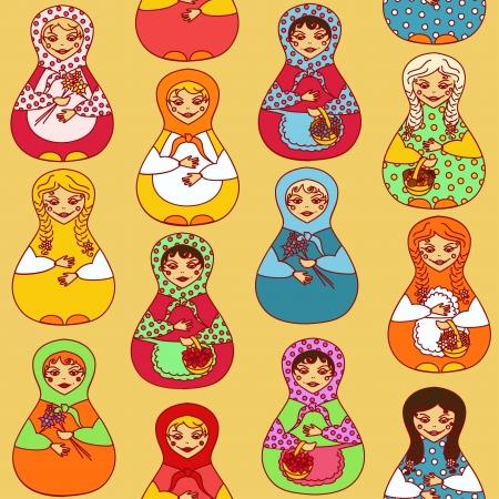 babushka: Seamless pattern of colorful Russian dolls matrioshka Illustration