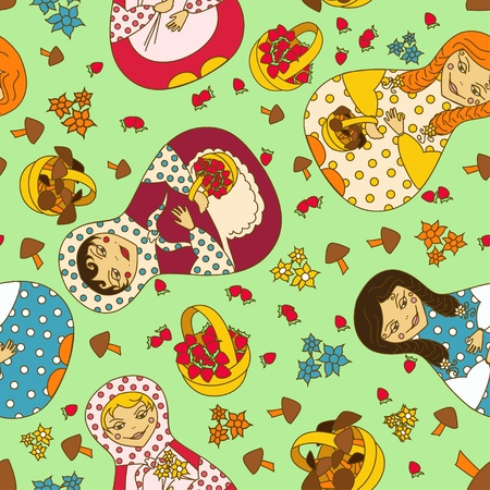 Seamless pattern of Russian dolls matrioshka and baskets of berries and mushrooms Vector