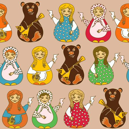 Seamless pattern of Russian dolls matrioshka and bears Vector