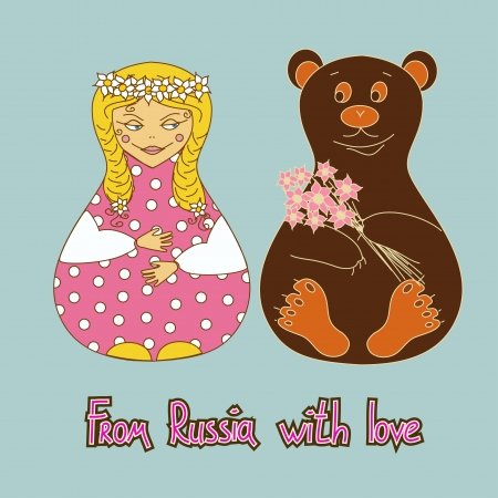 Humorous background with Russian doll and bear  Vector