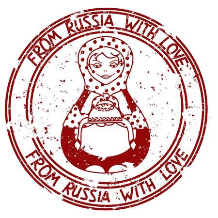 folk tales: Vintage stamp with Russian doll matrioshka