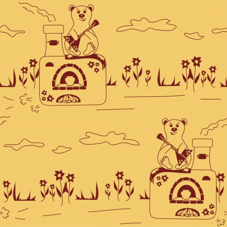 folk tales: Seamless pattern of vintage Russian oven and bear playing the balalaika