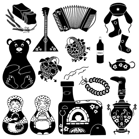 Set of black stylized russian icons  Vector