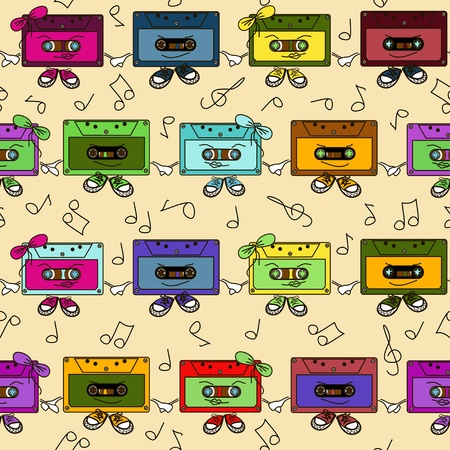 disuse: Cartoon comic colorful cassette tapes seamless pattern