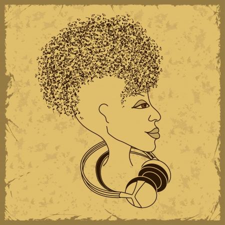 african woman face: Donna faccia silhouette in profilo con capelli note musicali su uno sfondo vintage