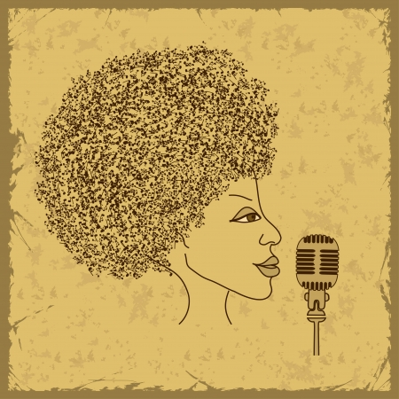 Woman face silhouette in profile with musical notes hair on a vintage background Vector
