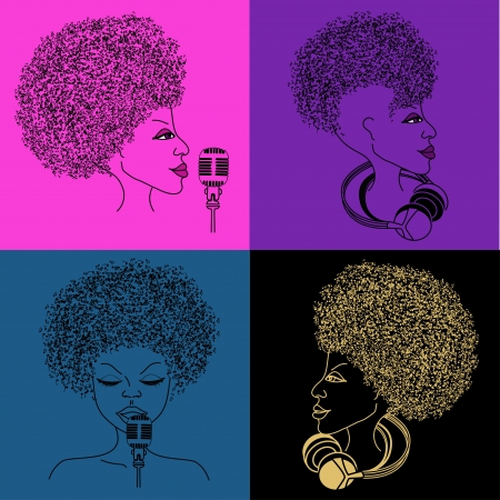 musician silhouette: Isolated singer icon with musical notes hair on the bright colorful background