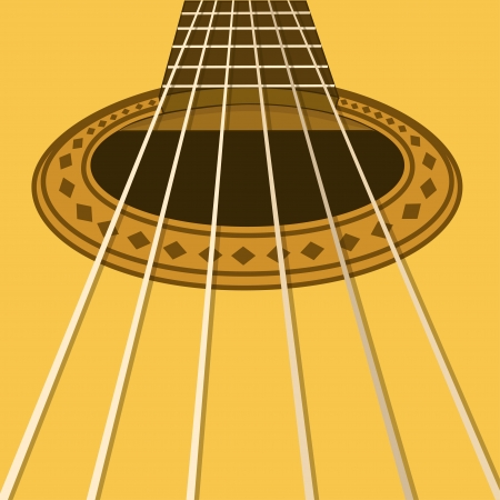 Music flyer or background with closeup acoustic guitar Vector