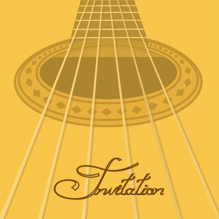 Music invitation with closeup acoustic guitar Vector