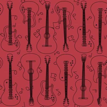 Seamless pattern of guitars contour  Vector