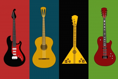 country music: Four isolated flyers with guitars on the colorful backgrounds Illustration