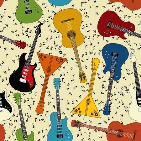 Seamless pattern of different kind of guitars Vector