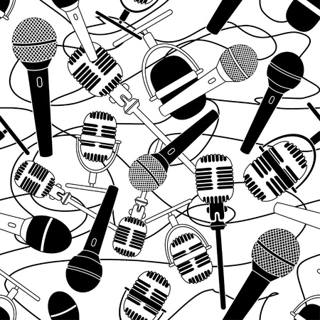 Doodle seamless pattern of microphones Vector