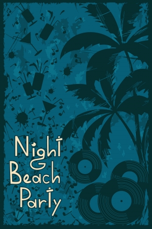 Tropical night beach party flyer or background Vector