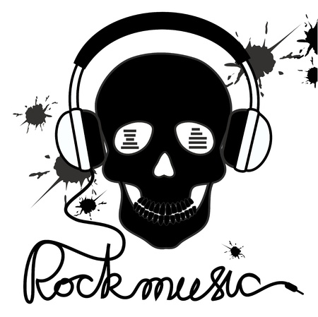 Illustration with skull and headphones and text rockmusic Vector