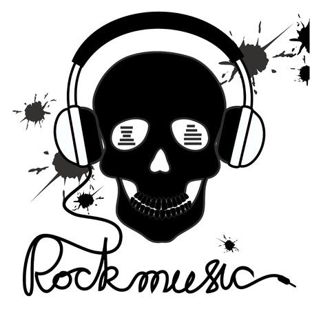 fiestas electronicas: Ilustración con el cráneo y los auriculares y rockmusic texto Vectores