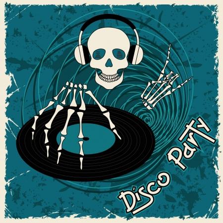 flyer musique: Circulaire de la musique ou de fond avec Dj cr�ne et disque vinyle