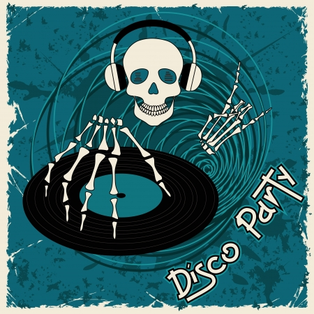 Music flyer or background with Dj skull and vinyl disc Vector