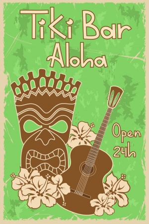 Vintage Hawaiian poster. Invitation to Tiki bar