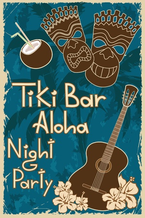 beach bar: Vintage Hawaiian poster. Invitation to Tiki bar night party