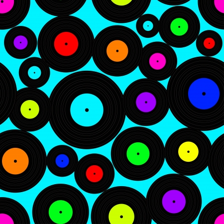 Seamless pattern of acid colored vinyl discs Vector