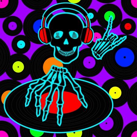 flyer musique: Circulaire de la musique ou de fond avec Dj cr�ne et des disques de vinyle