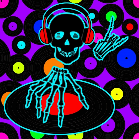Music flyer or background with Dj skull and vinyl discs Vector