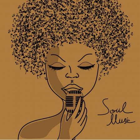 s�ngerin: Singer Silhouette mit Noten Haar Hintergrund Illustration
